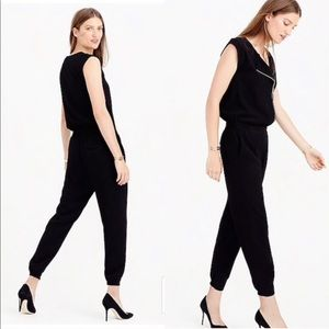 J Crew Black Asymmetrical Zipper Jumpsuit